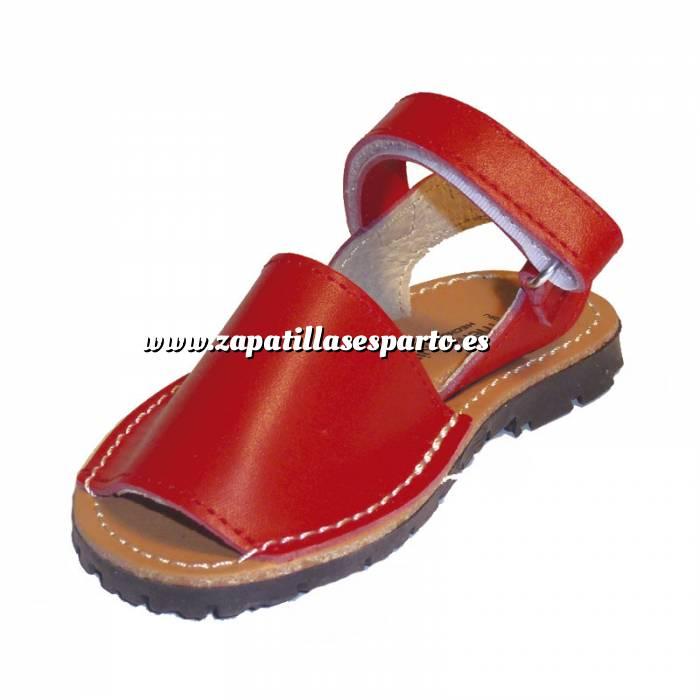 Imagen Roja Avarca - Menorquina piel niño Roja Talla 21